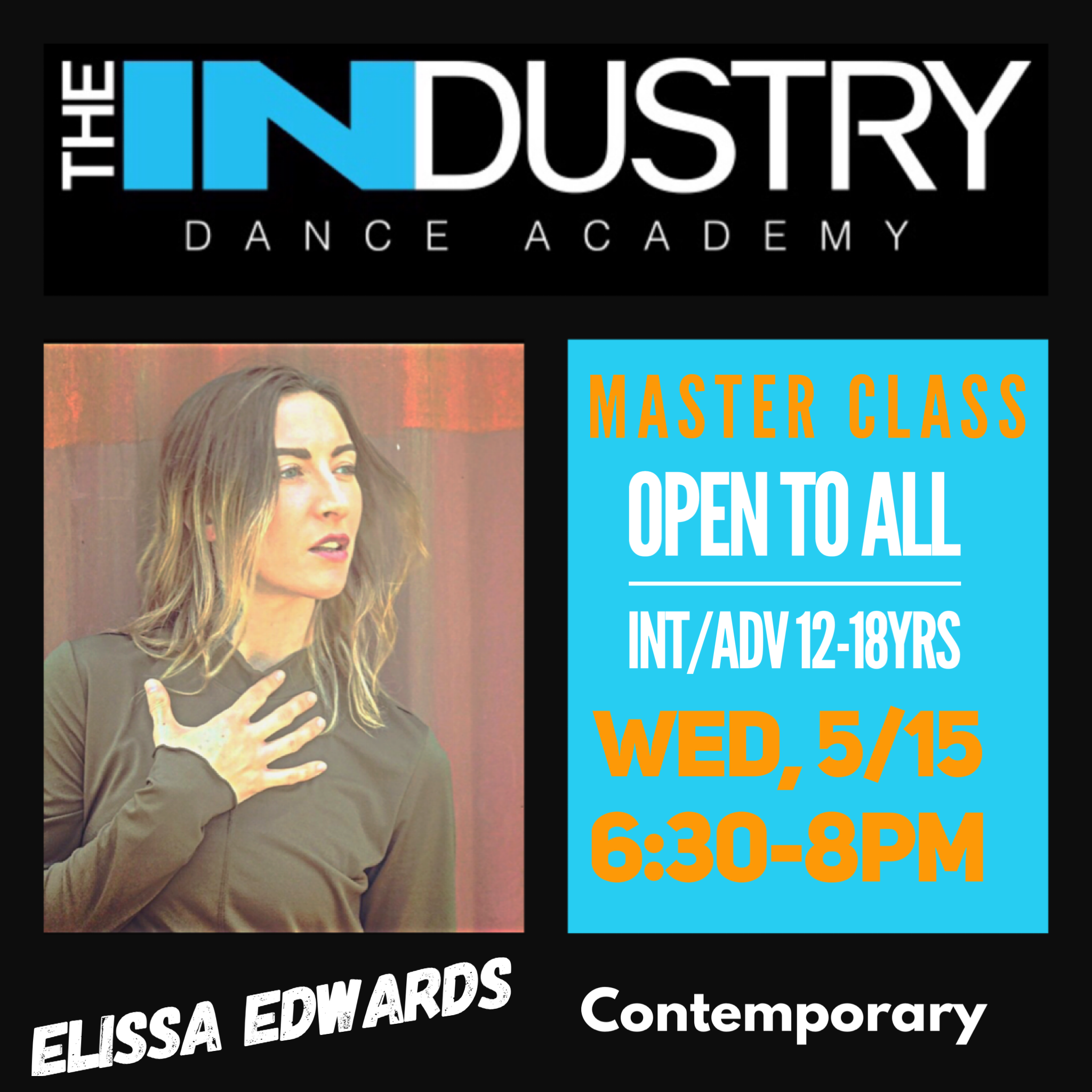 May 15th-6:30-8pm Contemporary with Elissa Edwards $25